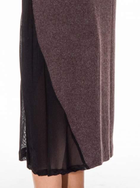 Brązowa maxi sukienka z asymetryczną wstawką na dole z tiulu                                  zdj.                                  9