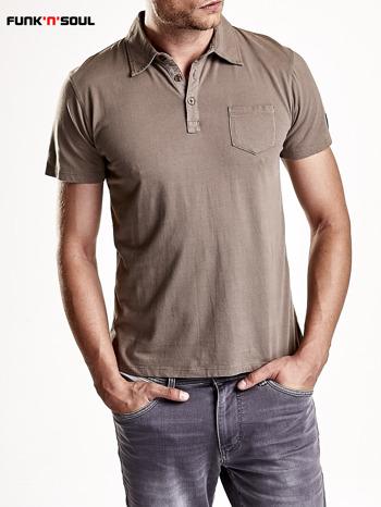 Brązowa męska koszulka polo z kieszonką Funk n Soul                                  zdj.                                  3
