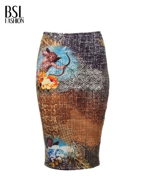 Brązowa ołówkowa spódnica z artystycznym nadrukiem                                  zdj.                                  2