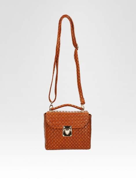 Brązowa pikowana mini torebka kuferek w stylu retro                                  zdj.                                  5