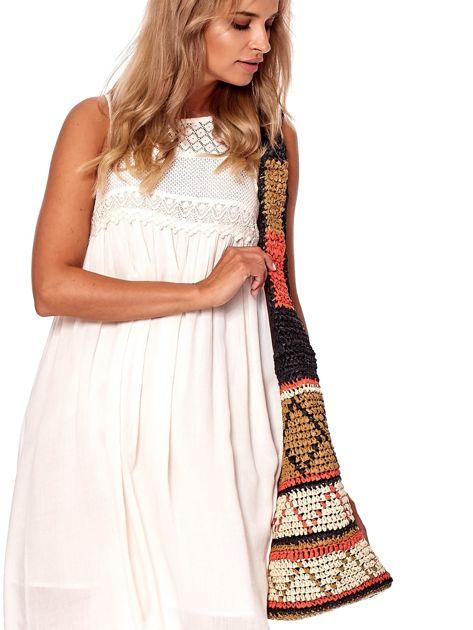 Brązowa pleciona torba w etniczne wzory                              zdj.                              5