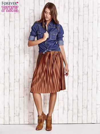 Brązowa plisowana spódnica midi                                  zdj.                                  5