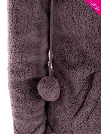 Brązowa pluszowa bluza z kapturem z uszkami i pomponami                                  zdj.                                  8