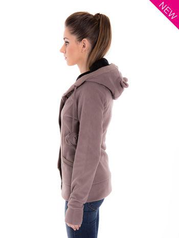 Brązowa polarowa bluza z kapturem z uszkami                                  zdj.                                  5