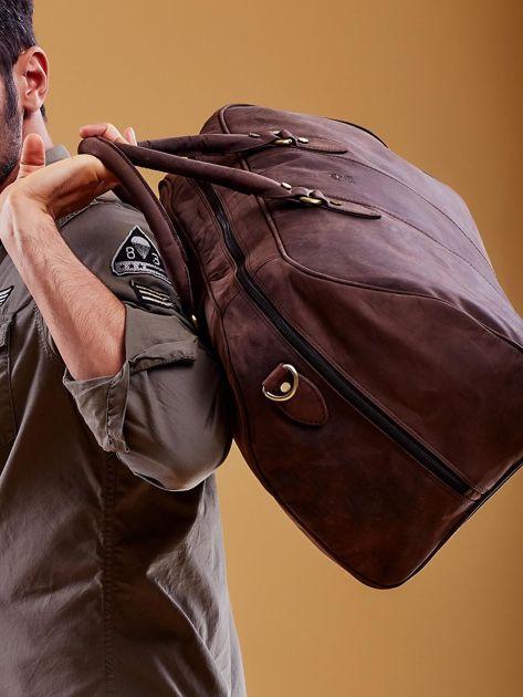 Brązowa skórzana męska torba podróżna                              zdj.                              7
