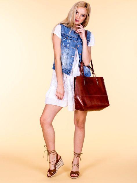Brązowa skórzana torba damska z ozdobnymi okuciami                              zdj.                              5