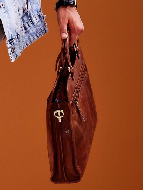 Brązowa skórzana torba męska do ręki                              zdj.                              3