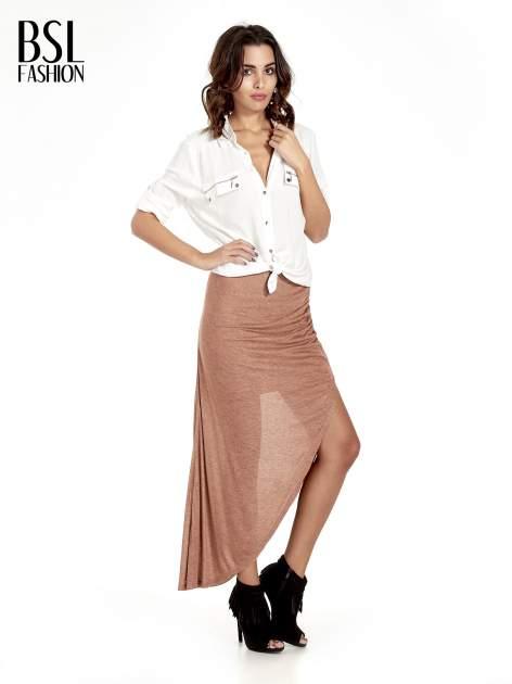 Brązowa spódnica maxi z drapowaniem i rozporkiem z boku                                   zdj.                                  8