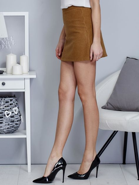 Brązowa spódnica trapezowa z suwakiem                              zdj.                              3