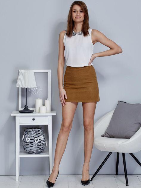 Brązowa spódnica trapezowa z suwakiem                              zdj.                              4