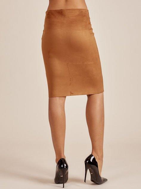 Brązowa spódnica z imitacji zamszu                              zdj.                              2