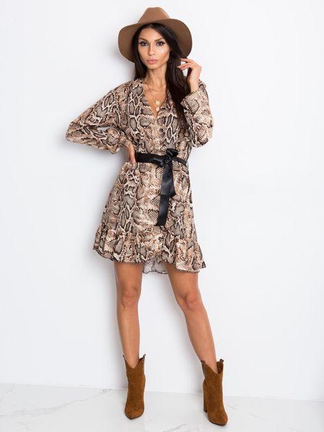 Brązowa sukienka Shock                              zdj.                              4
