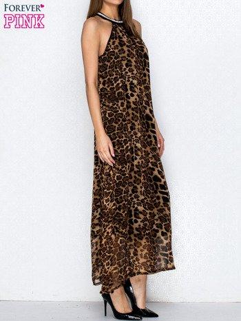 Brązowa sukienka maxi w panterę z biżuteryjnym dekoltem                                  zdj.                                  3