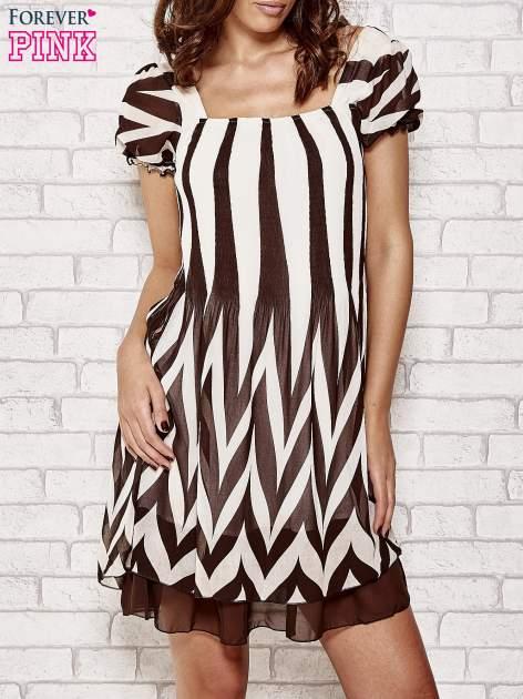 Brązowa sukienka w paski z bufiastymi rękawkami                                  zdj.                                  1