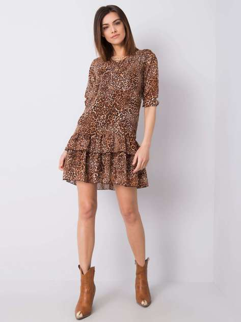 Brązowa sukienka z printami Antonella RUE PARIS