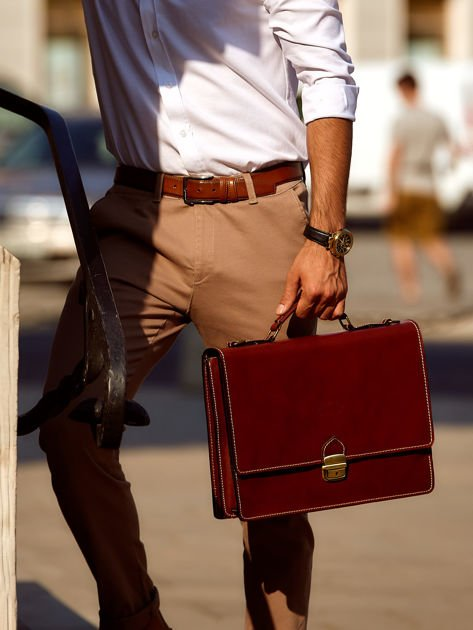 Brązowa torba aktówka męska z odpinanym paskiem                              zdj.                              4