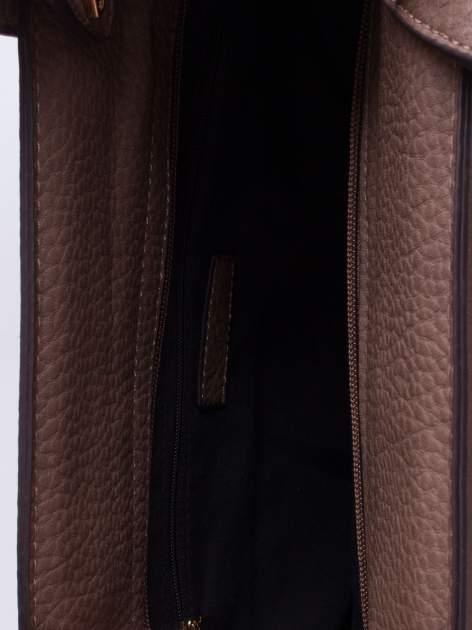 Brązowa torba do ręki z klamerką                                  zdj.                                  4