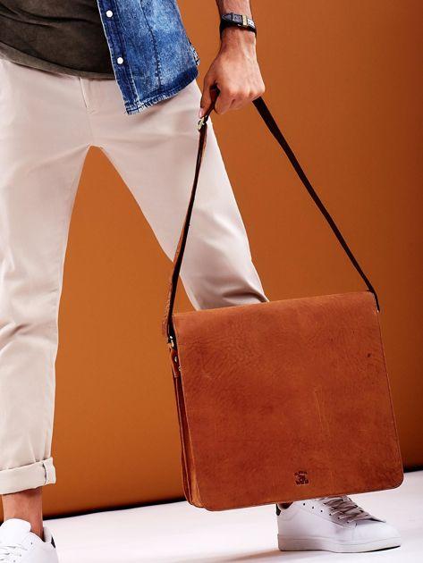 Brązowa torba męska na ramię ze skóry naturalnej                              zdj.                              1