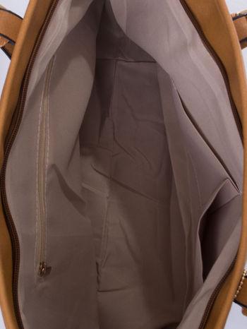 Brązowa torba shopper bag z regulowanymi rączkami                                  zdj.                                  5