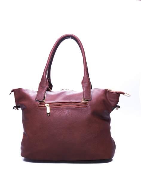 Brązowa torba shopper bag ze złotymi detalami                                  zdj.                                  3