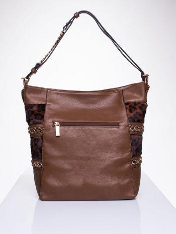 Brązowa torba z motywem panterkowym i odpinanym paskiem                                  zdj.                                  2