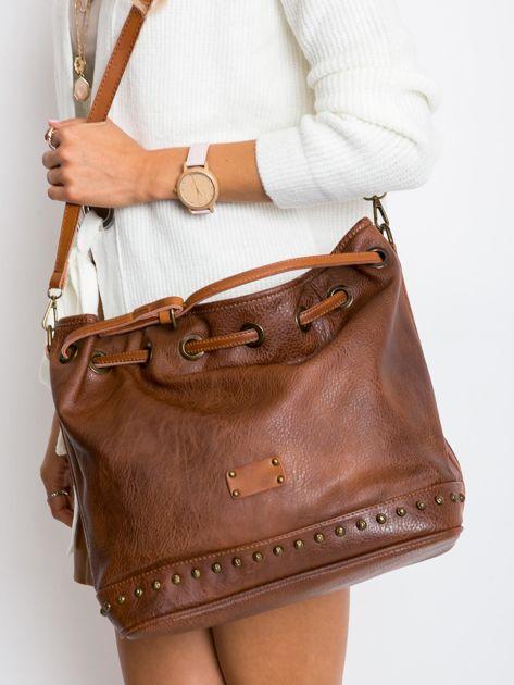 Brązowa torba ze ściągaczem                              zdj.                              3