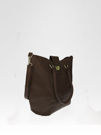 Brązowa torebka city bag z zatrzaskiem                                  zdj.                                  7