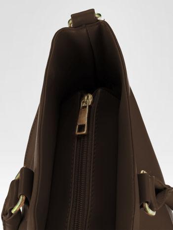 Brązowa torebka city bag z zatrzaskiem                                  zdj.                                  9