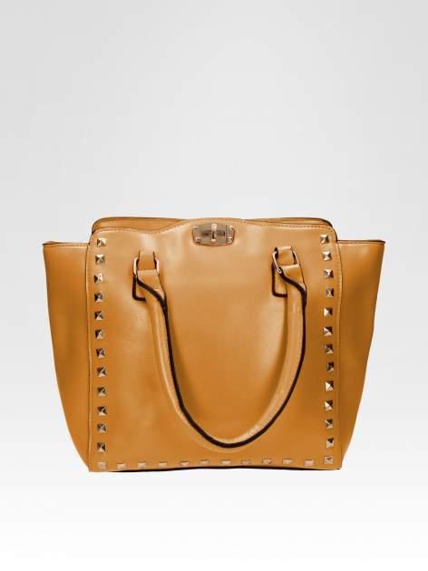 Brązowa torebka na ramię z dżetami