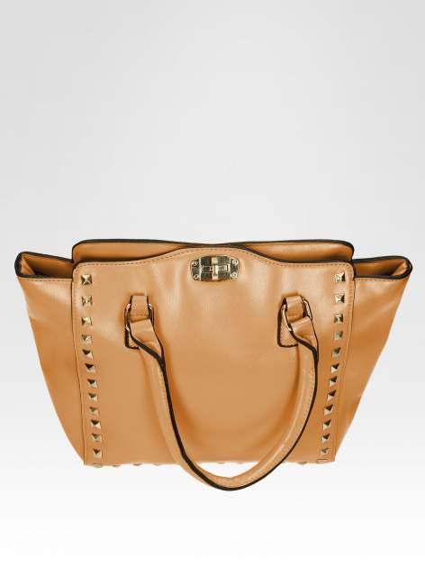 Brązowa torebka na ramię z dżetami                                  zdj.                                  8