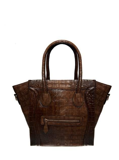 Brązowa trapezowa torba miejska z efektem skóry krokodyla