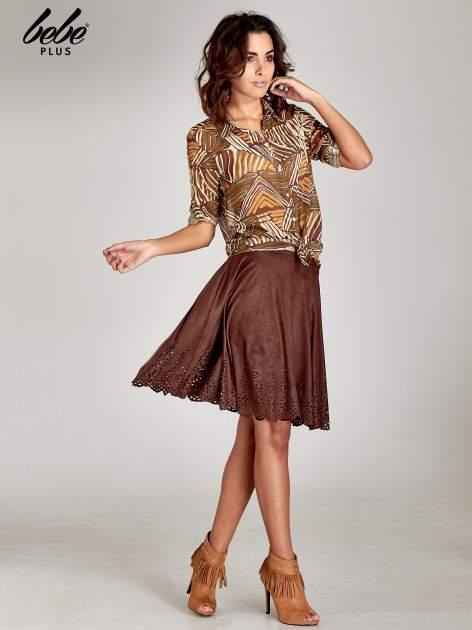Brązowa zamszowa spódnica w stylu boho                                  zdj.                                  8