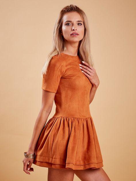 Brązowa zamszowa sukienka                              zdj.                              3