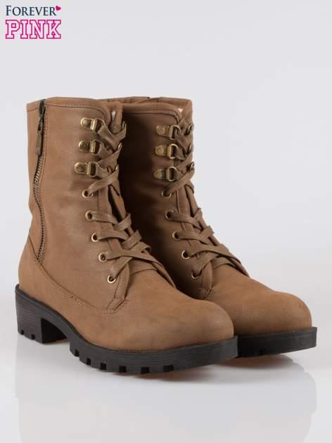 Brązowe botki worker boots z zamkiem z boku                                  zdj.                                  2