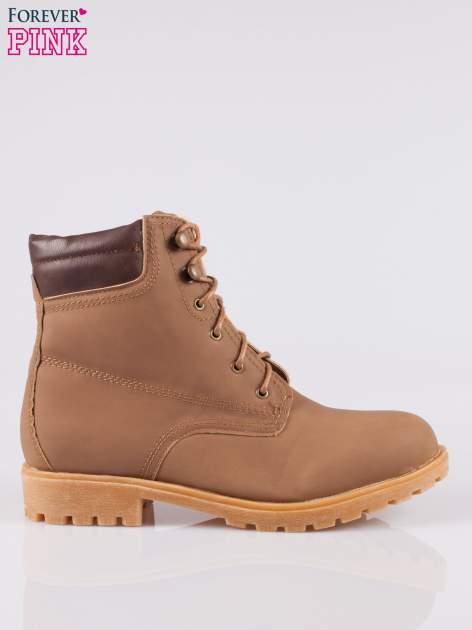 Brązowe buty trekkingowe damskie typu traperki                                  zdj.                                  1