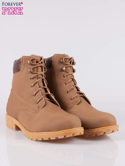 Brązowe buty trekkingowe damskie typu traperki                                  zdj.                                  2