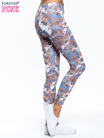Brązowe legginsy w roślinny wzór                                  zdj.                                  3