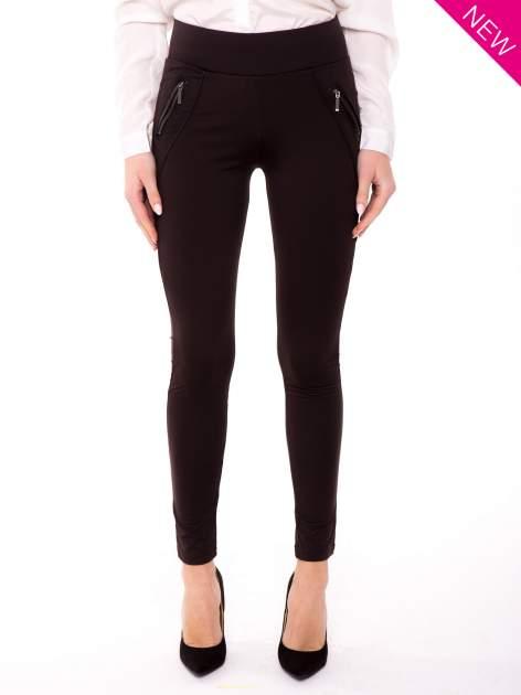 Brązowe legginsy z suwakami                                  zdj.                                  1