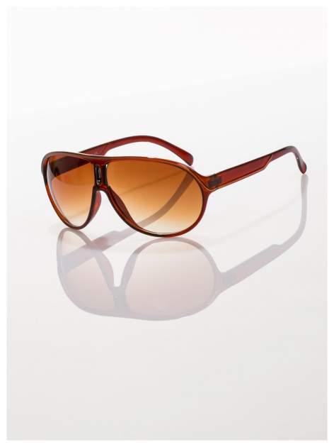 Brązowe modne sportowe okulary Beckhamki