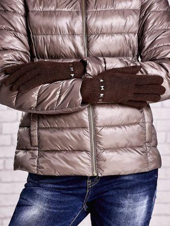 Brązowe proste rękawiczki z ćwiekami                                  zdj.                                  2