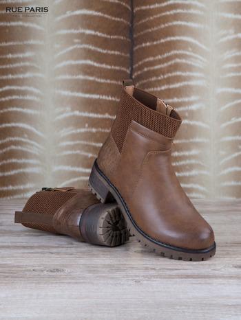 Brązowe skórzane botki faux leather na suwak, z traktorową podeszwą                                  zdj.                                  3