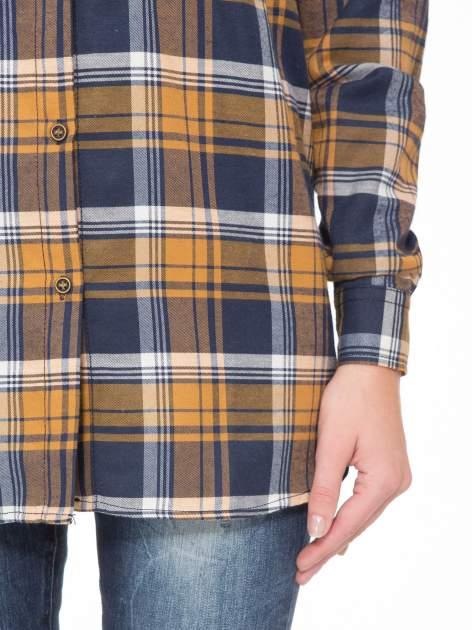 Brązowo-granatowa bawełniana dłuższa koszula w kratę                                  zdj.                                  8