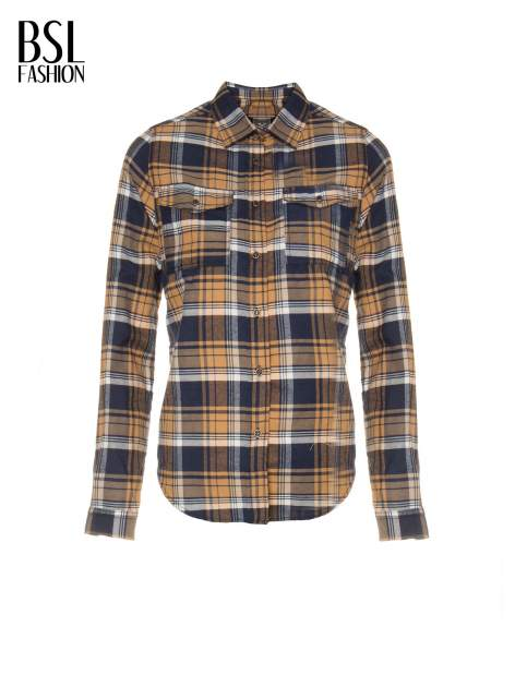 Brązowo-granatowa damska koszula w kratę z kieszonkami                                  zdj.                                  6