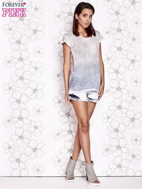 Brązowo-niebieski t-shirt z efektem ombre                                  zdj.                                  2