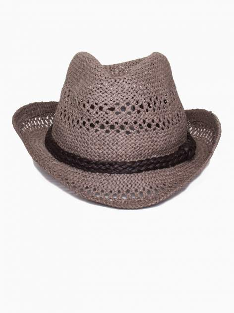Brązowy damski kapelusz kowbojski z ciemną plecionką                                  zdj.                                  2