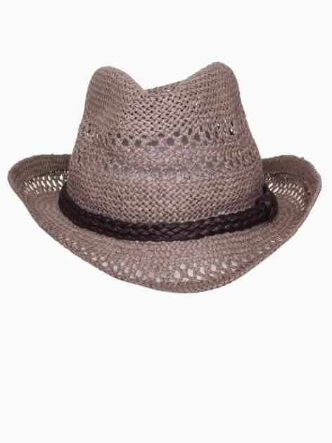 Brązowy damski kapelusz kowbojski z ciemną plecionką                                  zdj.                                  6