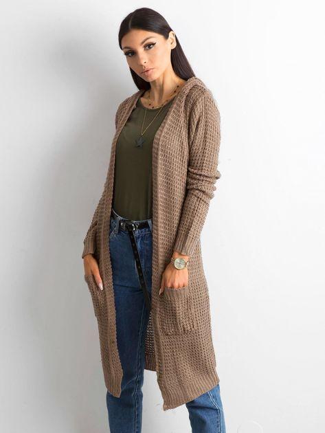 Brązowy długi sweter z dzianiny                              zdj.                              1