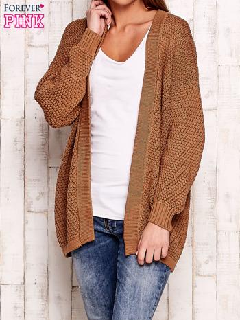 Brązowy fakturowany otwarty sweter
