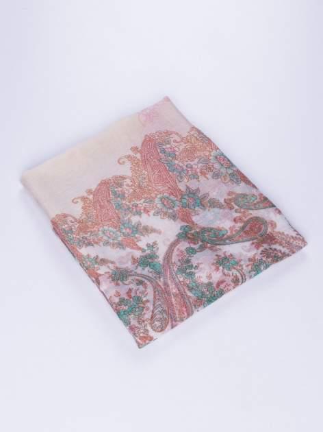 Brązowy komin w kwiaty z orientalnym akcentem                                  zdj.                                  2