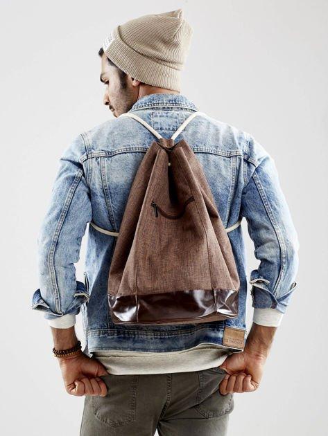Brązowy materiałowy plecak worek męski                              zdj.                              1
